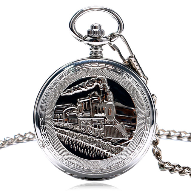 Men Pocket Watch Silver FOB Running Steam Train Unique Women Pendant Necklace Ch
