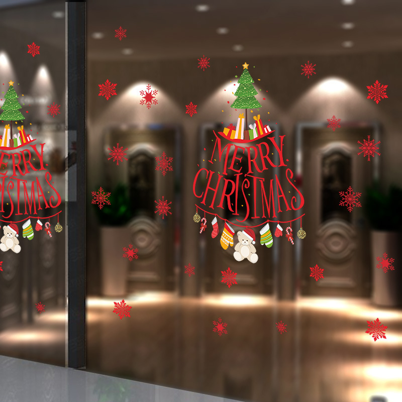 christmas tree snowflake living room bedroom pvc wall sticker window showcase glass sticker chrismas new year home decoration - Showcase Designs For Living Room