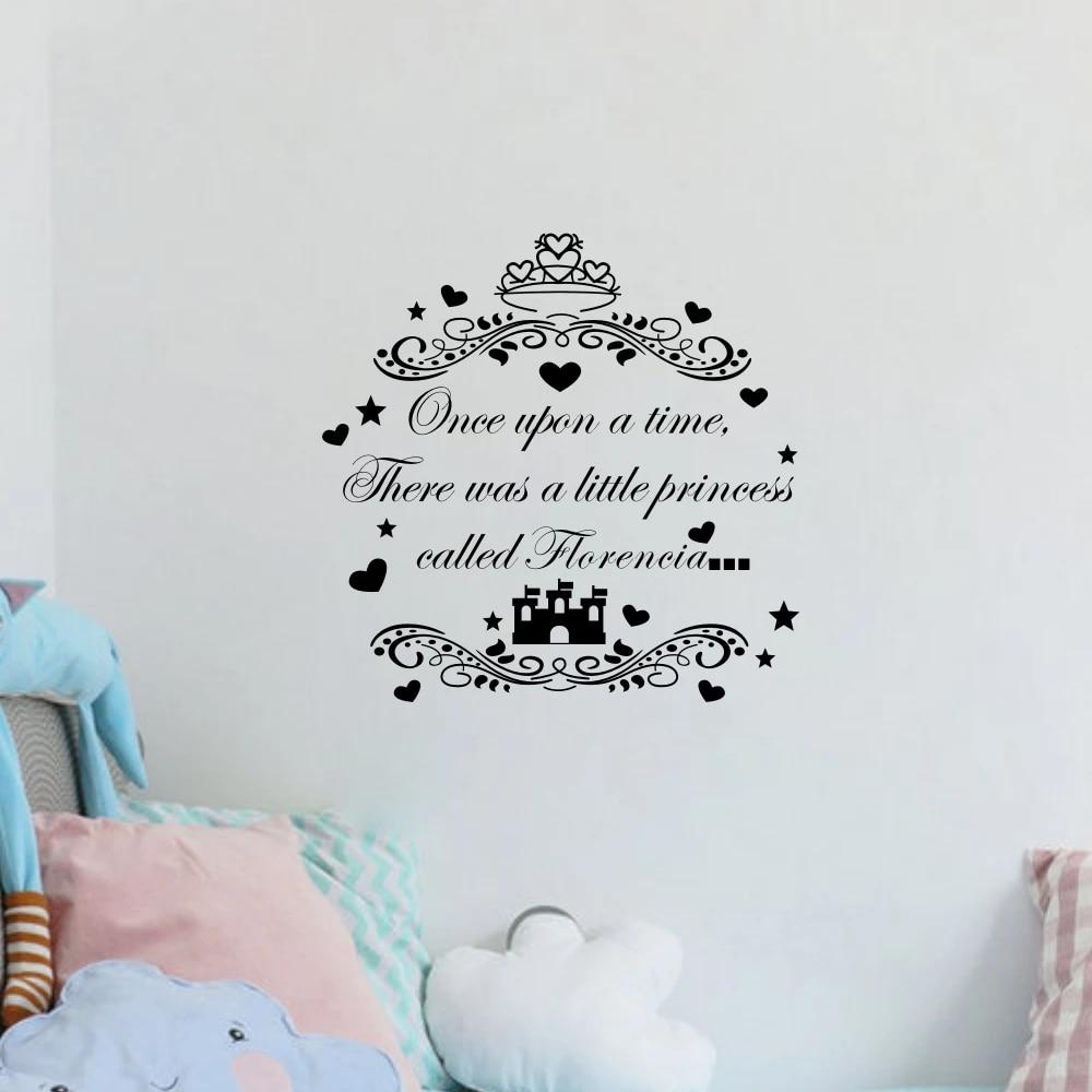 Benutzerdefinierte Madchen Name Zitate War Einmal Personalisierte Wandtattoo Prinzessin Schloss Kinder Wandaufkleber Kinder Zimmer Dekor Stickers Leaves Stickersticker Pictures Aliexpress