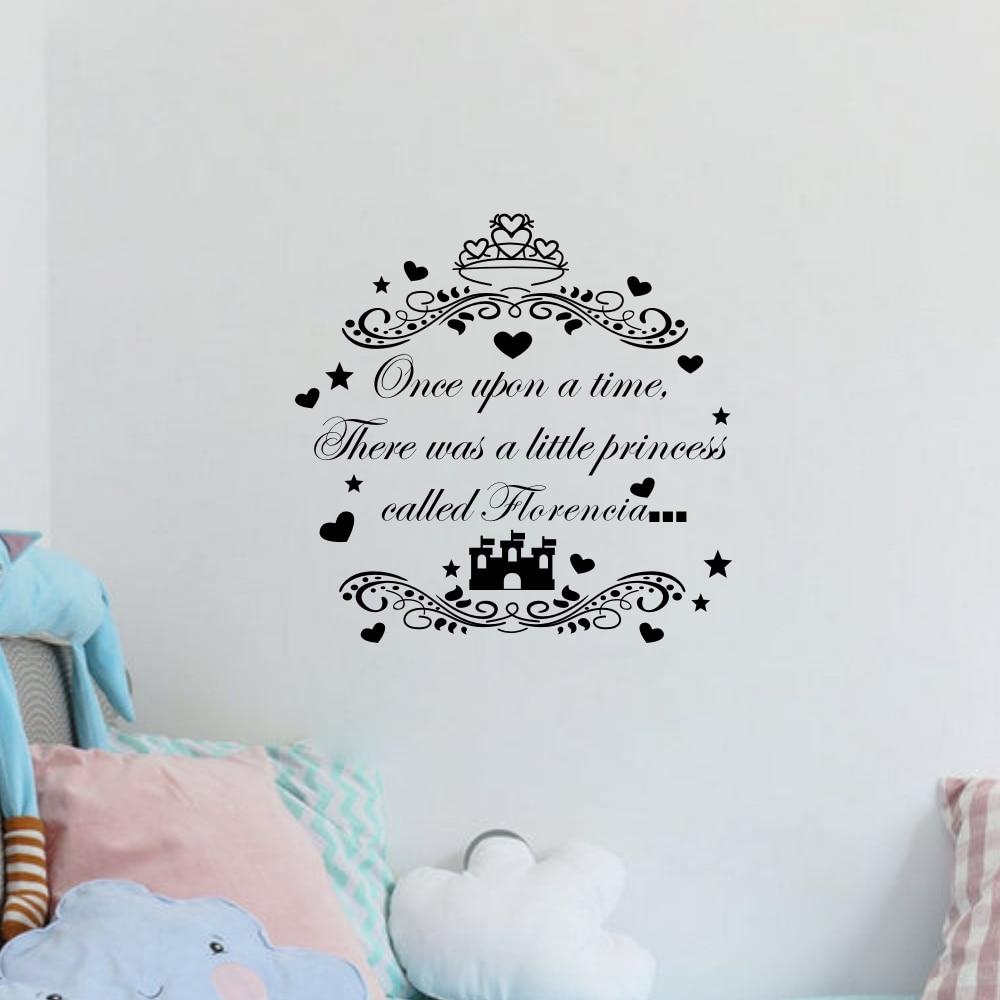 Us 7 91 12 Di Sconto Ragazze Personalizzati Nome Citazioni Once Upon A Time Personalizzato Adesivo Princess Castle Bambini Wall Sticker Per Bambini