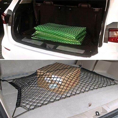 70*70cm Universal Car Trunk Luggage Rear Cargo Organizer Storage Elastic Mesh Net Holder 4 Plastic Hooks Auto Mesh