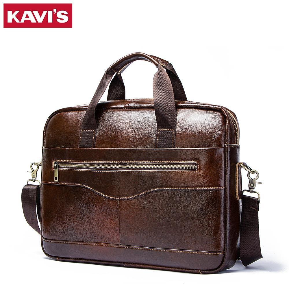 KAVIS Genuine Leather handbag bag Men Travel for Laptop Briefcase Crossbody Hand Sling O handles Tote