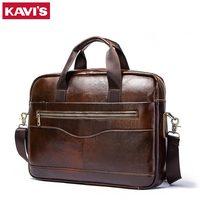 KAVIS Genuine Leather handbag bag Men Travel for Laptop Briefcase Crossbody Hand Sling O handles Tote Shoulder Bolsas Sac Tas