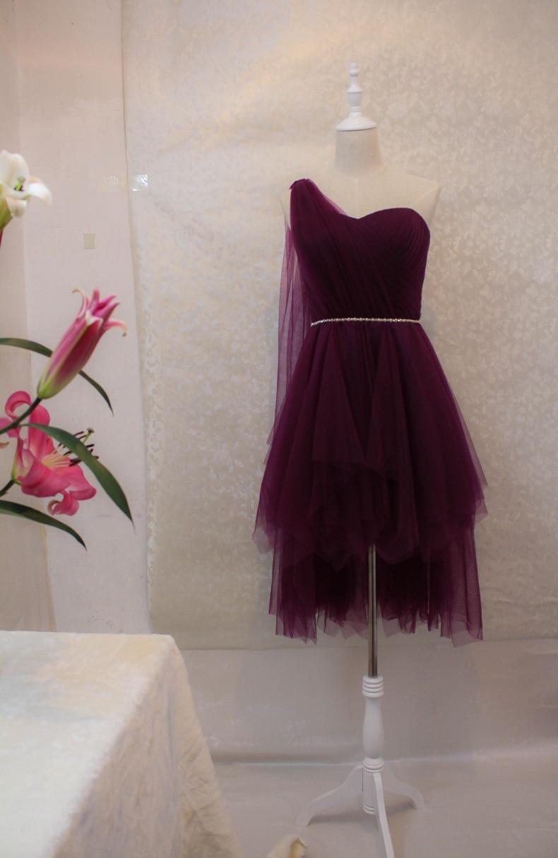 lovely one shoulder short burgundy purple navy blue tulle. Black Bedroom Furniture Sets. Home Design Ideas