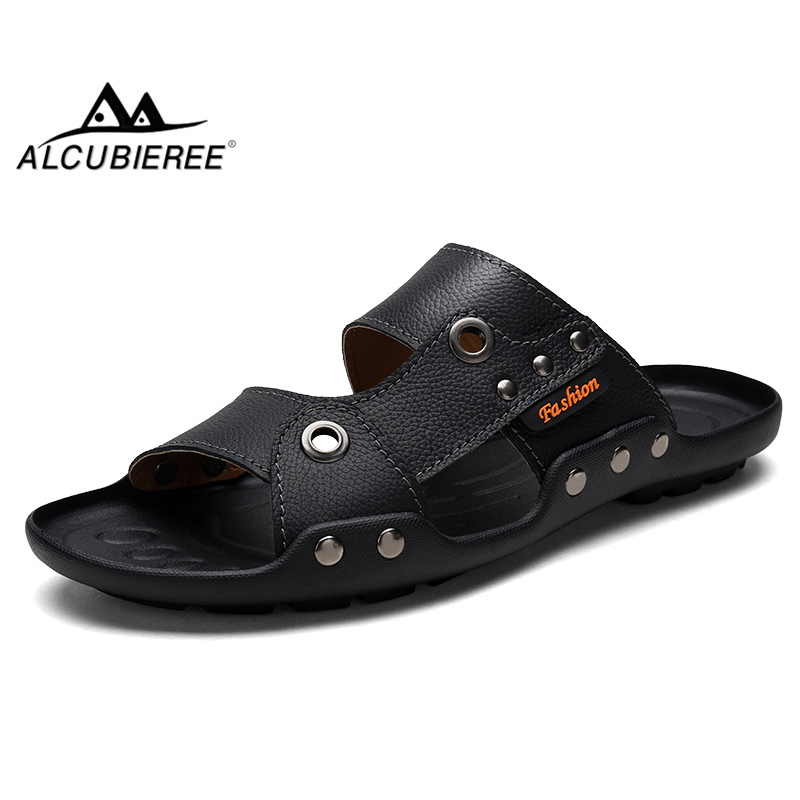 ALCUBIEREE summer Genuine Leather sandals for men breathable Beach Shoes outdoor Flexible Flip Flops Shoes lightweight sandals