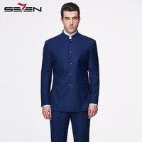 Seven7 Mens Royal Темно синие костюм для свадьбы Бизнес праздничная одежда платье костюмы Tailor Made Винтаж Ретро мужской брендовая одежда 2018