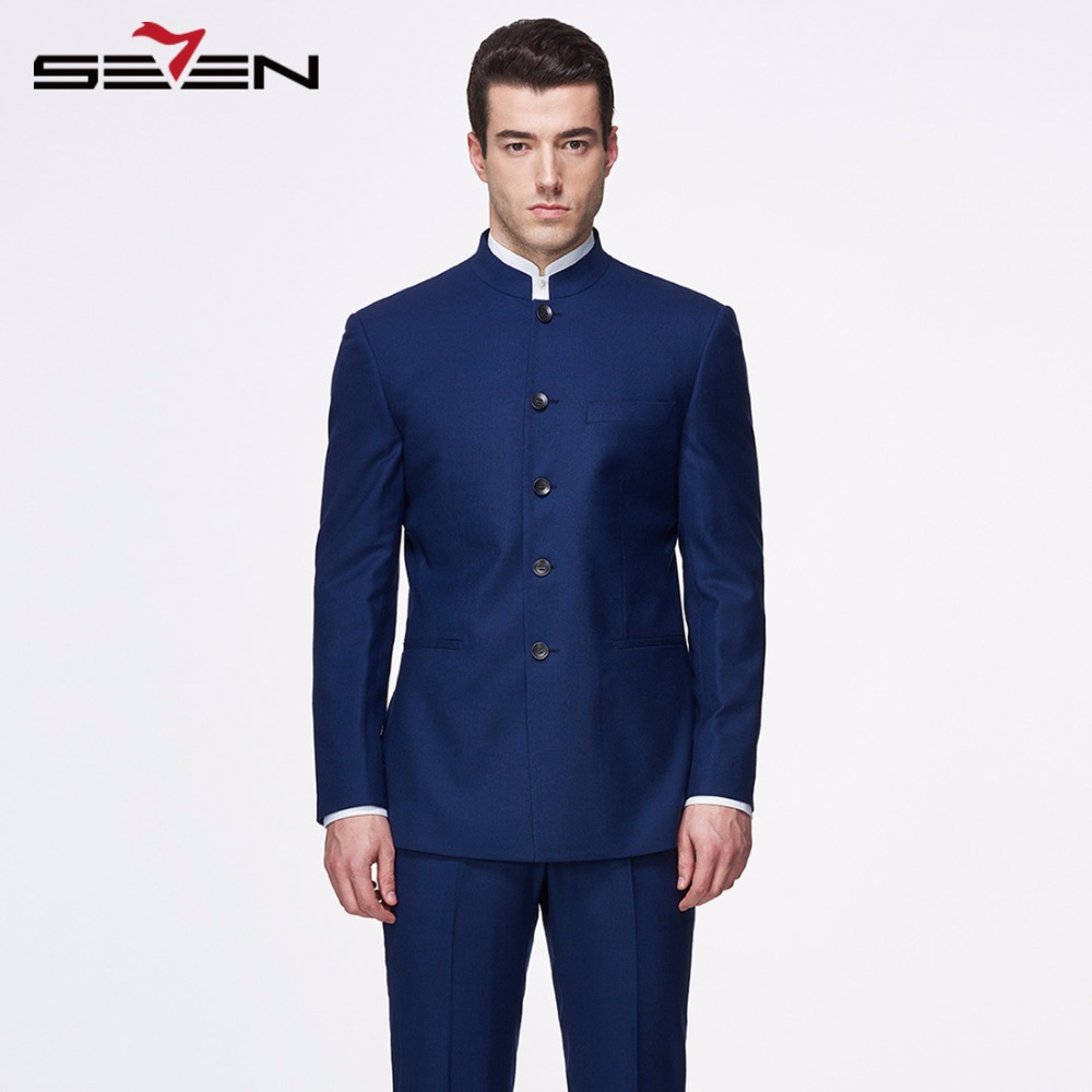 454283278a Seven7 Mens Royal Navy Blue Suit For Wedding Business Formal Wear Dress  Suits Tailor Made Vintage Retro Male Brand Clothing 2018