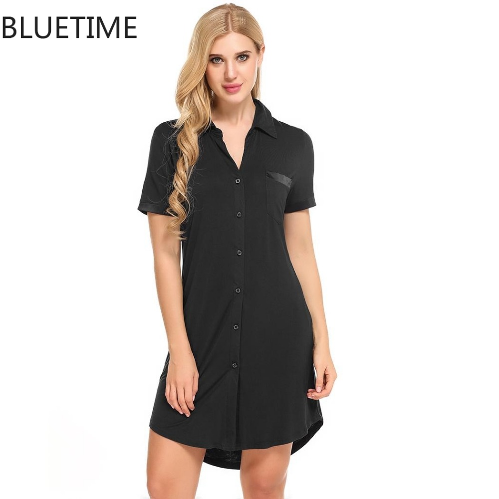 Women nightshirt top button sleepshirt mini dress sleep for Sleep shirt short sleeve