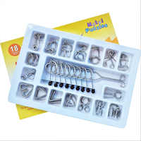 18pcs Montessori Chinese Ring IQ Metal Wire iq uzzle for Children/Adult,Creative Brain Teaser Puzzles Game Educational Toys