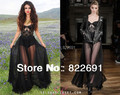 Free shipping Celebrity dress Selena Sexy Black Transparent Embroidery Min inside underwear Floor-Length Prom Evening Dresses