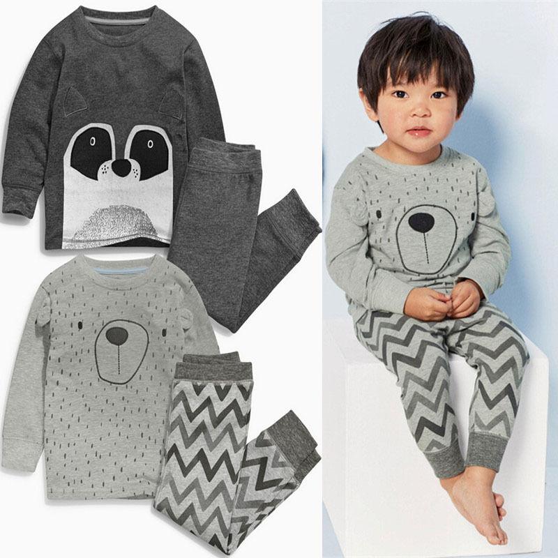 d829b2bc6 New Kids Baby Boy Long Sleeve Bear Tops + Pants 2pcs Sleepwear ...