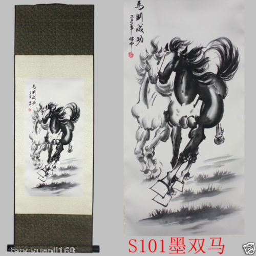 TNUKK Chinese SuZhou Silk Art Horse Decoration Scroll Painting Drawing S101 Wall adornment murals home decoration.
