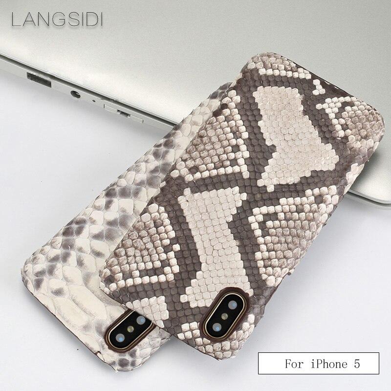 Wangcangli pour iPhone 5 étui de luxe fait à la main en cuir véritable peau de python coque arrière