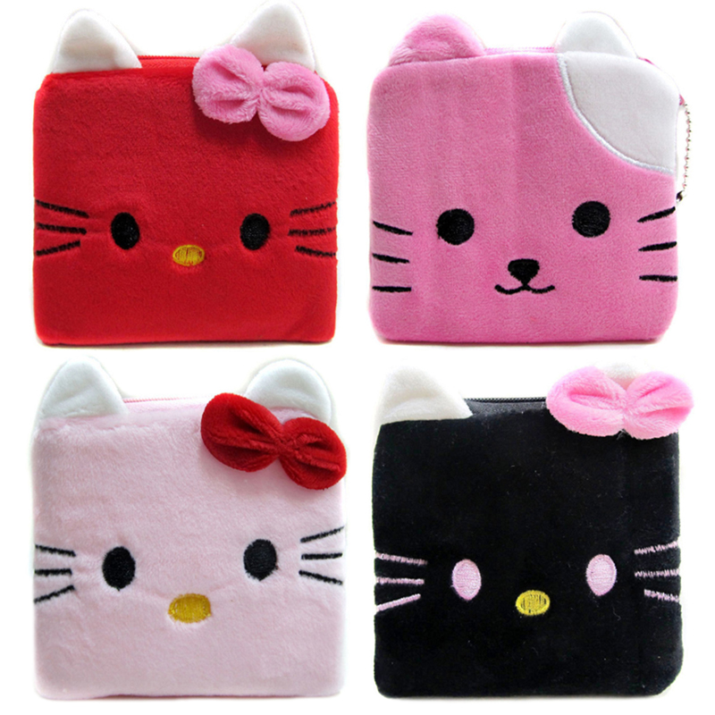 New Lovely Cat Wallets Kids Character Coin Purses Women Hello Kitty Bag Zipper Plush Bags Female Makeup Purses Pouch 2017 hot sale character mini wallets kids plush bag women cartoon coin purses ladies zipper pouch