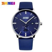 SKMEI Luxury Brand Watches Male Fashion Casual Quartz Watch Classic Genuine Leather Strap Men Wristwatch Relogio