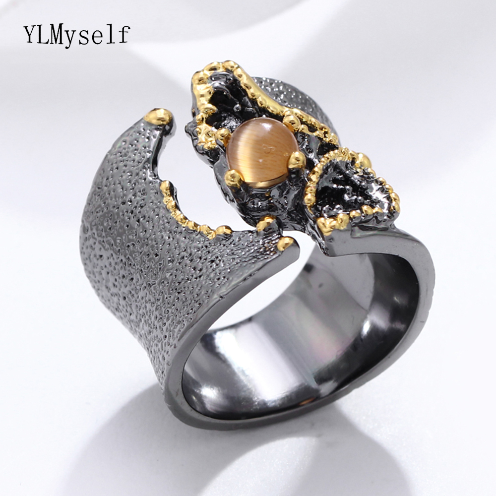 Brilliant Amazing Big Ring Stone Rings Black Gold Color Luxury Vintage Great Cocktail Ring Women Party Jewelry