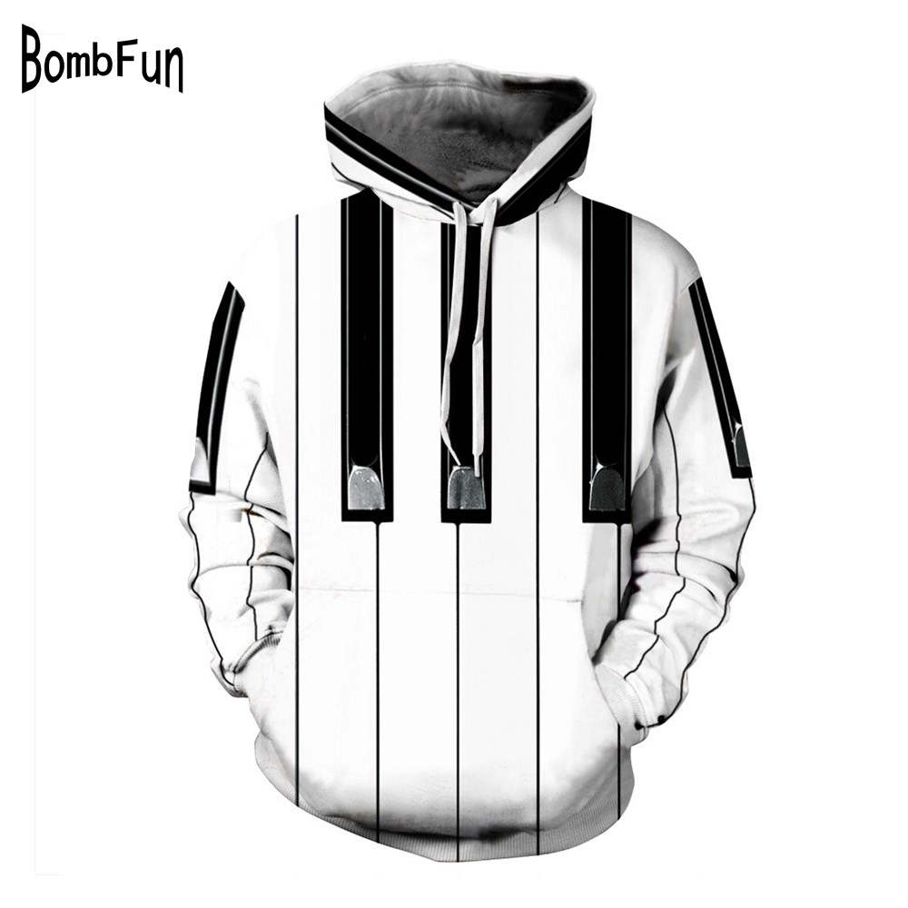 Black/White Piano 3d Print Hoodies Men&Women Loose Long Sleeve Sweatshirts Plus Size Hooded Pullovers Couples Streetwear Hoody