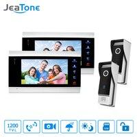 JeaTone LCD 2 Video Door Phone Cameras 2 Recording Monitors Video Door Phone Intercom Doorbell Home