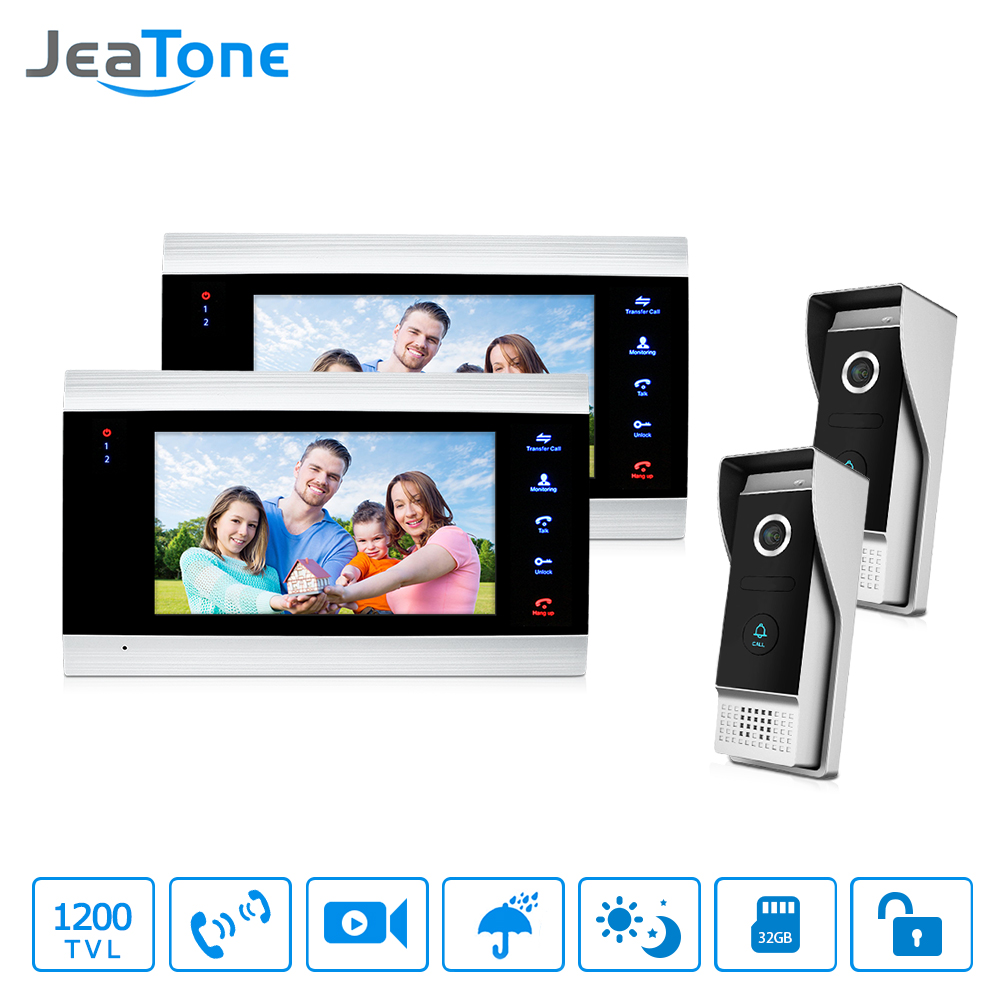 JeaTone LCD 2 Video Door Phone Cameras + 2 Recording Monitors Video Door Phone Intercom Doorbell Home Security System Waterproof jeatone 7 lcd monitor wired video intercom doorbell 1 camera 2 monitors video door phone bell kit for home security system