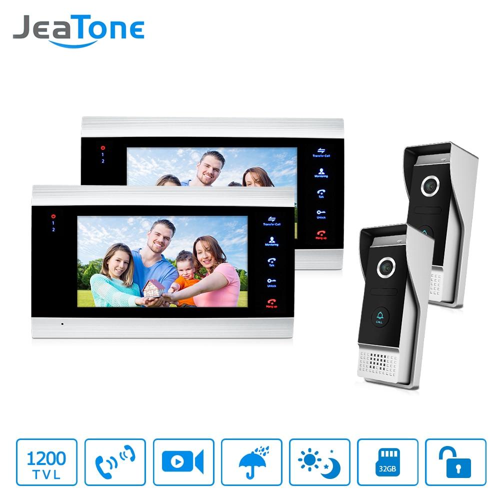 JeaTone LCD 2 Video Door Phone Cameras + 2 Recording Monitors Video Door Phone Intercom Doorbell Home Security System Waterproof