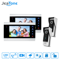 JeaTone LCD 2 Video Door Phone Cameras + 2 Recording Monitors Video Door Phone Intercom Doorbell Home Security System Waterproof