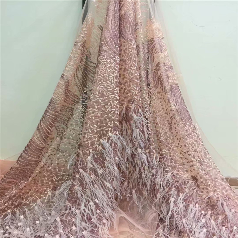 2018 High end fashion French Lace Fabric High Quality African Tulle Embroidered Handmade feather Lace Fabric For Wedding