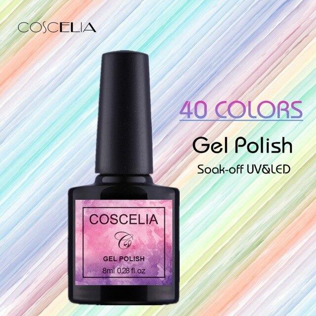 COSCELIA ג 'ל 1 מכירה לוהטת 40 צבעים 8 ML ג' ל לק ציפורניים אמנות UV LED ג 'ל ציפורניים הארכת עיצוב למעלה ג 'ל לכות