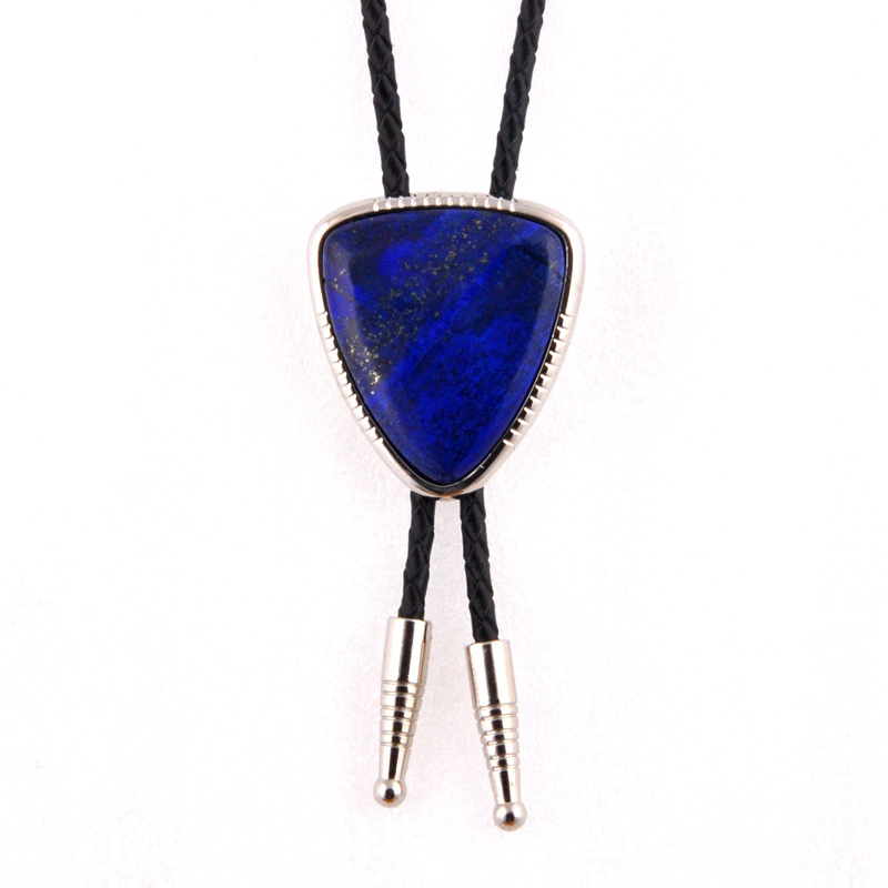 Triangle Agate Natural Stone BOLO Tie Men's New High-end Wedding Accessories Leather Rope 4*100MM
