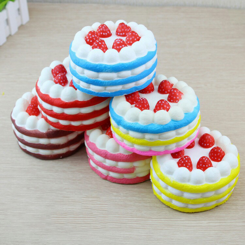 New Hot Sale Squishy Cute Colorful Strawberry Cake Slow Rising Anti Stress Reliever Squishies Toy Squeeze Funny Toys Gift QB20
