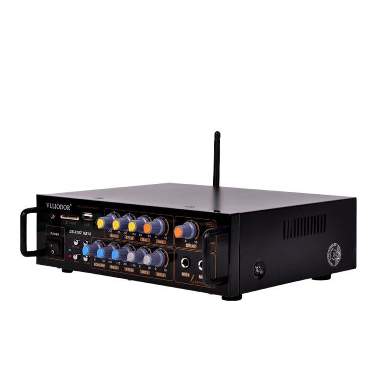 45W+45W KB18 DS-9702 MINI wireless Bluetooth home karaoke KTV audio amplifier With USB / SD / FM radio Dual Microphone input