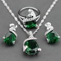 Sterling Silver For Women Water Drop Green Zircon White Crystal Earrings/Pendant/Necklace Chain/Ring Free Jewelry Box TZ131