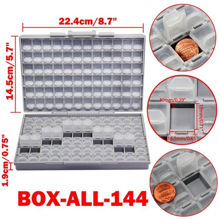 AideTek SMD хранения резистор SMT конденсатор с алюминиевой крышкой, электроника для хранения разного рода дисков и органайзеры прозрачный ящик для хранения ящик пластиковый боксал - Цвет: BOX-ALL-144