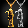Gothic Jewelry Retro Punk Skeleton Charm Pendant Stainless Steel/Gold Plated The Death Grim Reaper Necklace For Men 2016 GP2181