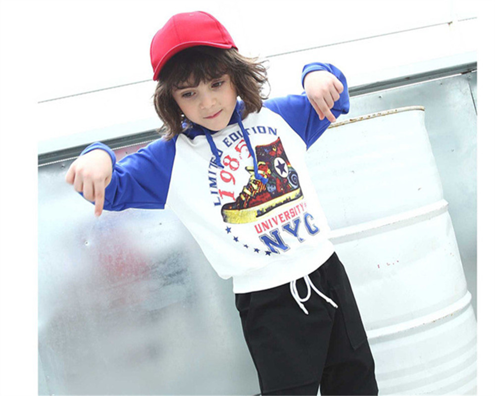 Spring Autumn Boys Hoodies Sweatshirt Teenagers Hoodies Children Casual Clothes Print Hoodies Boys Outwear Coats Size 110-160cm