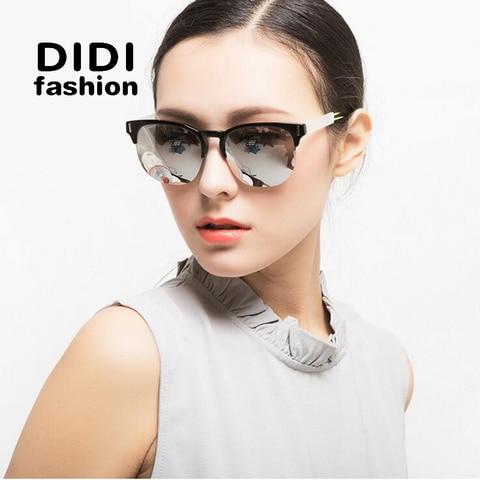 DIDI Couple Sunglasses Luxury Brand Oversized Flat Lens Eyeglasses Vintage Half Thin Frame Casual Driving Glasses Lunette W369 Pakistan