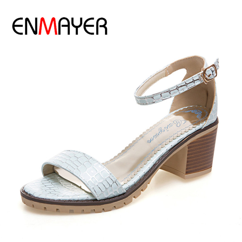 ФОТО ENMAYER Two Piece High Heels Square Heels Party Pumps Round Toe Cover Heels Buckle Strap Open Side Sandals for Woman Shoes 34-43