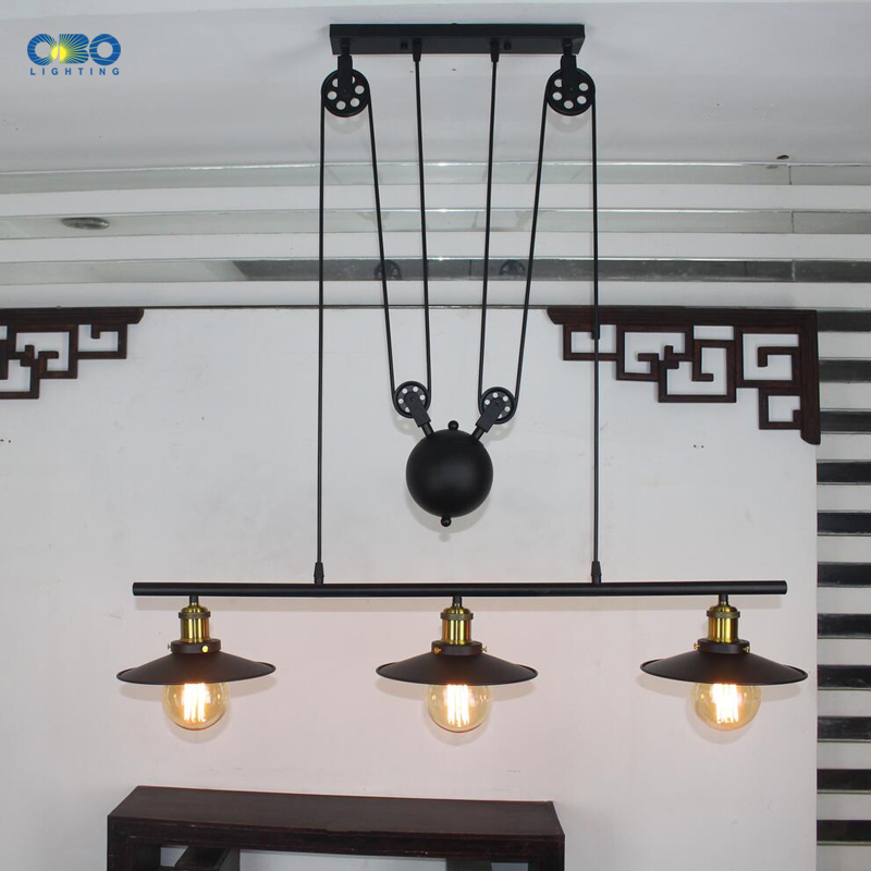 Винтажные железные подвесные лампы с 3 головками, американский бар, подвесные светильники, кофейня, для внутреннего освещения, провод E27, дер... - 2