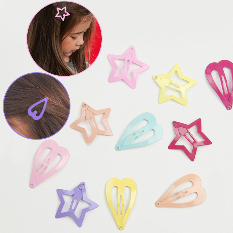 LNRRABC 5PC/set  heart-shaped stars design Korean fashion BB clip alloy candy color hairpin girl jewelry hair accessories