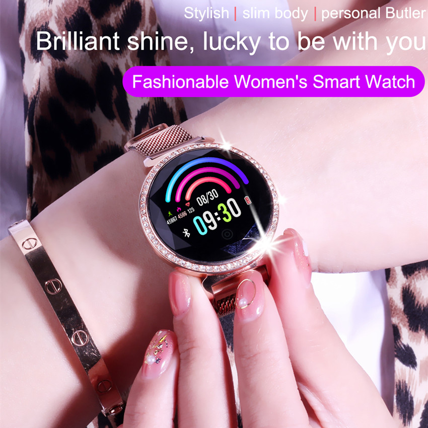 Image 3 - ASKMEER MC11 Women Smart Bracelet Luxury Rhinestone Smart Band Heart Rate Blood Pressure Monitor Female Message Reminder Watch-in Smart Watches from Consumer Electronics