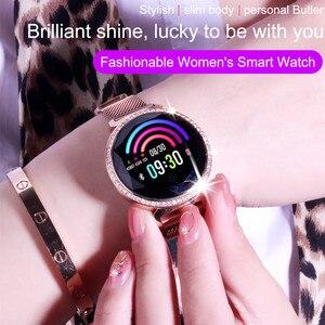 Image 3 - ASKMEER MC11 pulsera inteligente de lujo para mujer, con diamantes de imitación, control del ritmo cardíaco y de la presión sanguínea, reloj femenino con mensajes y recordatorios