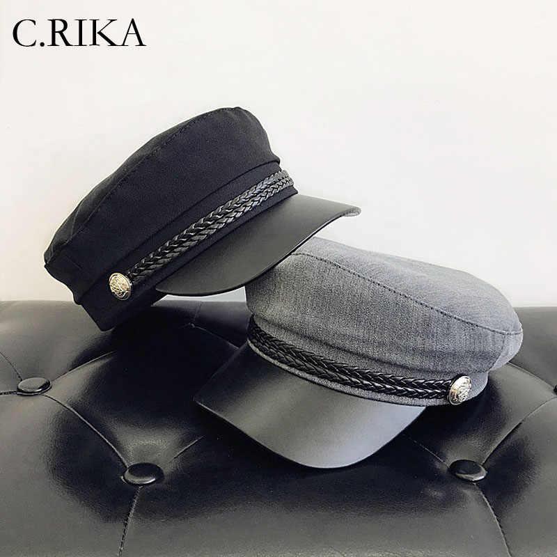 703253195c0b7 Mode PU cuir brime casquette de baseball hiver militaire chapeaux pour  femmes hommes filles garçons marin