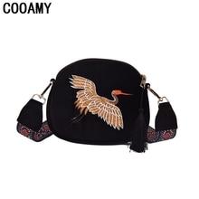 Fashion Women Messenger Bags Mini Velvet Embroidery Shoulder Bags Crane Shell Wild Strap Handbags  Tassel Vintage Crossbody Bag