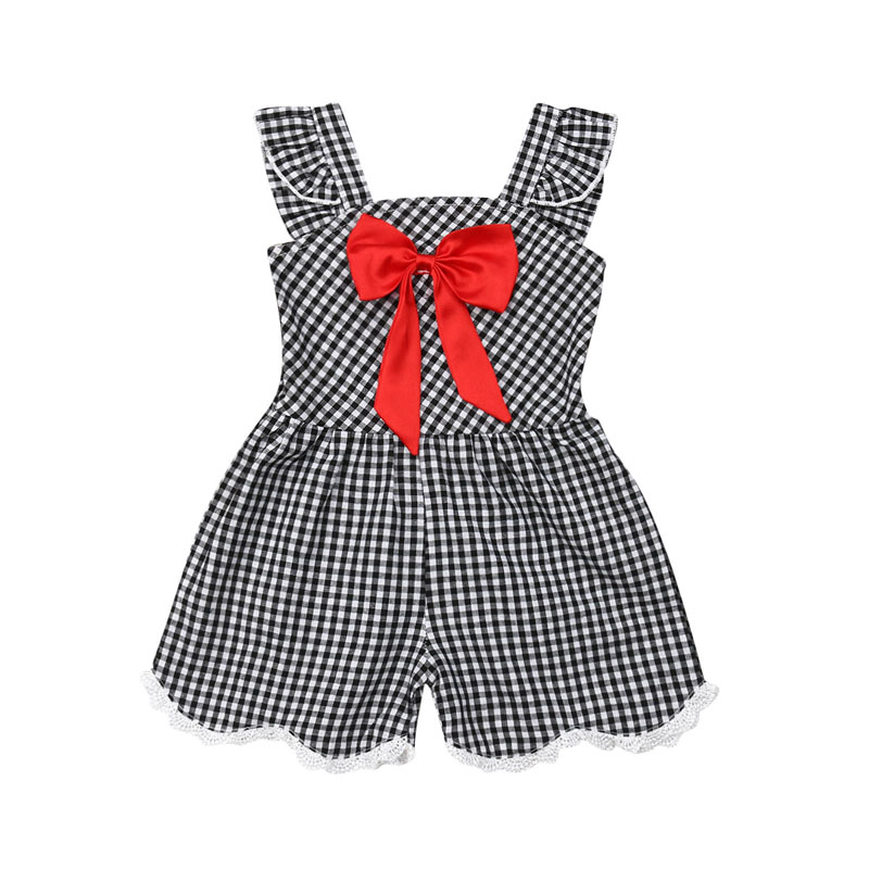Focusnorm Summer Toddler Baby Girl 1-5Y Plaid Clothes Sleeveless   Romper   One Piece Outfit