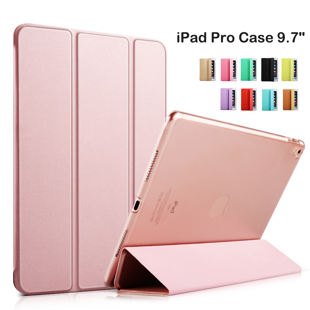 2016 Smart Cover Tablet Folding Folio Case for Apple iPad Pro 9.7 inch Auto Wake / Sleep Rose Gold Hard Bumper & Soft Bumper newest hard shell leather cover case for kobo aura h2o 6 8 inch ebook wake up and sleep screen protector stylus pen