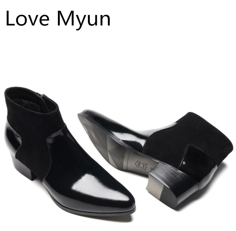Autumn Winter Men's Patent Leather Snow Boots High Heels Pointed Toe Suede Warm Work Ankle Boots Spring Wedding Dress Men Shoes