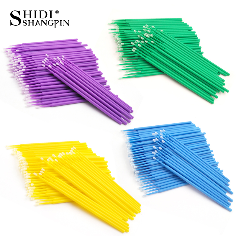 SHIDISHANGPIN 100pcs Disposable Eyelash Extension Tools Individual Lashes Applicators Mascara Brush Lash Extensions Cotton Swab
