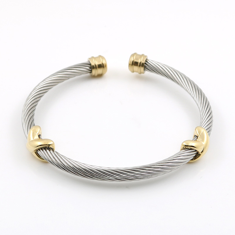 MSX Ladies Bangles Cross Sjarmerende Rustfritt Stål Sølv Stripe Wire Chain Cable Menn Kvinner Armbånd Bangle For Women Smykker