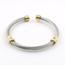 MSX Ladies bangles Cross Charming Stainless Steel Silver Stripe Wire Chain Cable Mens Womens Bracelet Bangle For Women Jewelry new arrival spring wire line colorful titanium steel bracelet stretch stainless steel cable bangles for women
