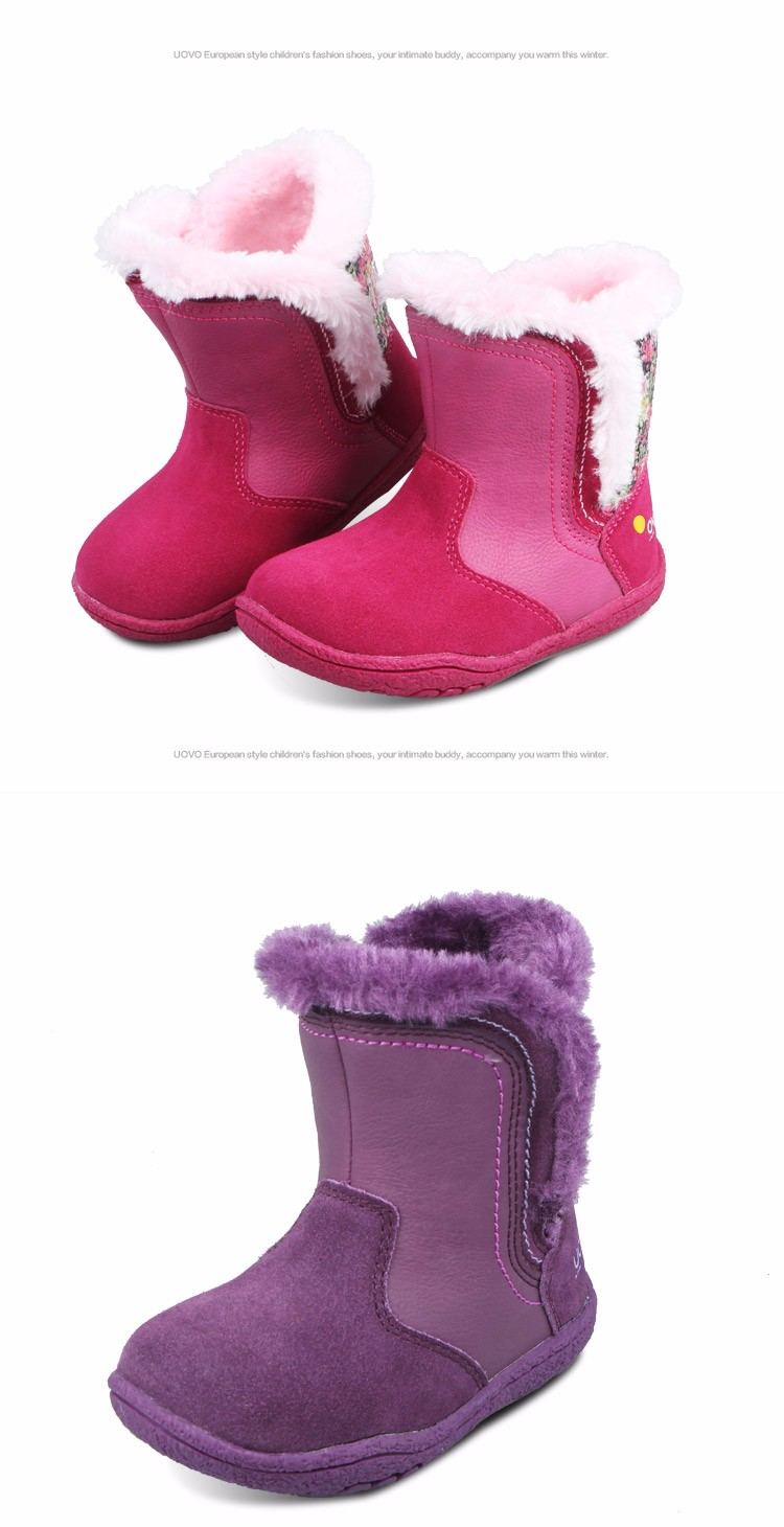 0bf238efb8 UOVO Little Girls Boots Faux Fur Plush Kids Boots With Glitter Cow ...