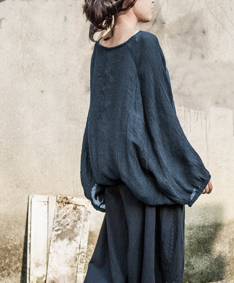Manga Mori Camisa Talla Túnica Blue De Étnico Larga Algodón Mujer Chica Suelta Bohemio Ropa Mujeres Linterna Camisas Lino Grande n0XvU